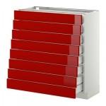 МЕТОД / МАКСИМЕРА Наполн шкаф 8 фронт/8 низк ящиков - 80x37 см, Рингульт глянцевый красный, белый