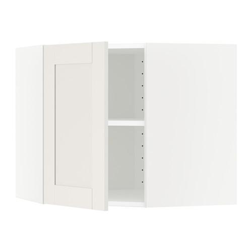 МЕТОД Угловой навесной шкаф с полками - 68x60 см, Сэведаль белый, белый