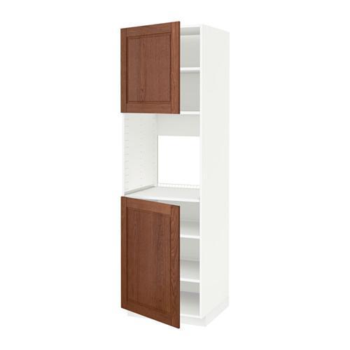 МЕТОД Высок шкаф д/духовки/2дверцы/полки - 60x60x200 см, Филипстад коричневый, белый