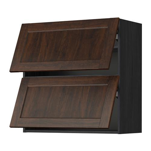 МЕТОД Навесной шкаф/2 дверцы, горизонтал - 80x80 см, Эдсерум под дерево коричневый, под дерево черный
