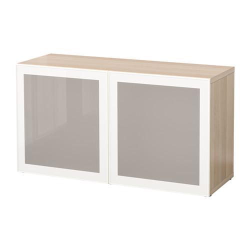 БЕСТО Стеллаж со стеклянн дверьми - под беленый дуб/Глассвик белый/матовое стекло