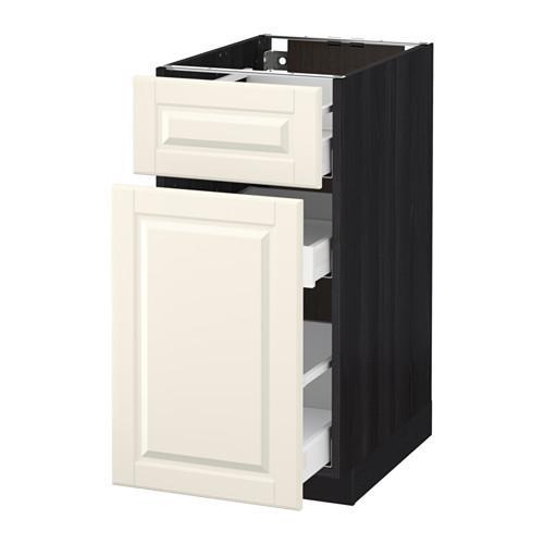 МЕТОД / МАКСИМЕРА Напольн шкаф/выдвижн секц/ящик - 40x60 см, Будбин белый с оттенком, под дерево черный