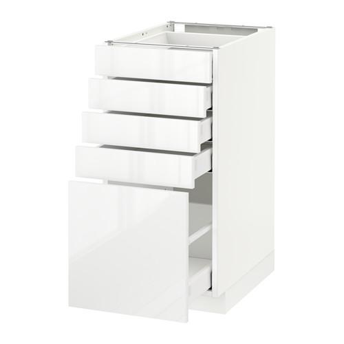 МЕТОД / МАКСИМЕРА Напольный шкаф с 5 ящиками - 40x60 см, Рингульт глянцевый белый, белый