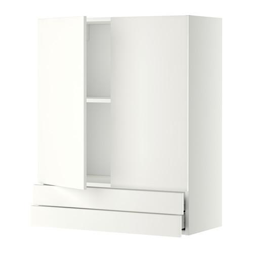 МЕТОД / МАКСИМЕРА Навесной шкаф/2дверцы/2ящика - 80x100 см, Хэггеби белый, белый