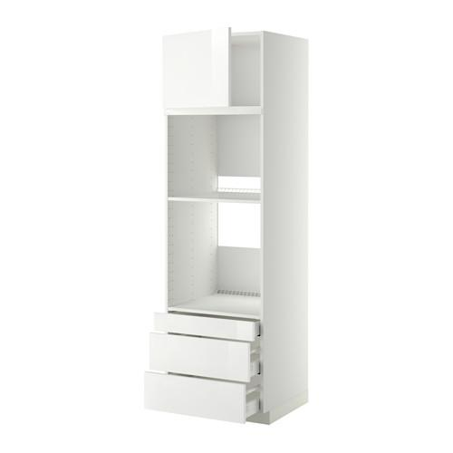 МЕТОД / МАКСИМЕРА Выс шкаф д/дхвк/комб дхвк+двр/3ящ - 60x60x200 см, Рингульт глянцевый белый, белый