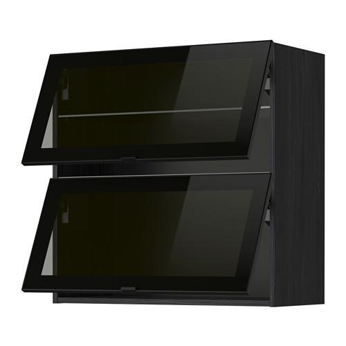 МЕТОД Навесн горизонтал шкаф/2 зерк дверц - 80x80 см, под дерево черный, Ютис дымчатое стекло/черный
