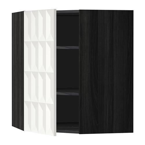 МЕТОД Угловой навесной шкаф с полками - 68x80 см, Гэррестад белый, под дерево черный