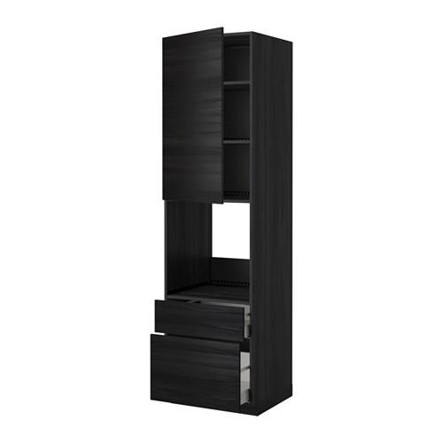 METHOD / MAXIMER High cabinet for perfume + door / 2 drawer - for wood black, Tingsried for wood black, 60x60x220 cm