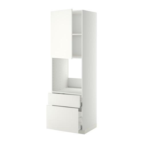МЕТОД / МАКСИМЕРА Высок шкаф д духов+дверь/2 ящика - 60x60x200 см, Хэггеби белый, белый