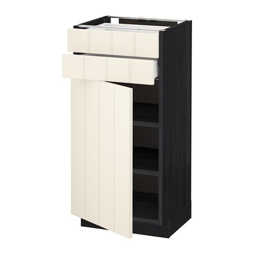МЕТОД / МАКСИМЕРА Напольный шкаф с дверцей/2 ящиками - 40x37 см, Хитарп белый с оттенком, под дерево черный