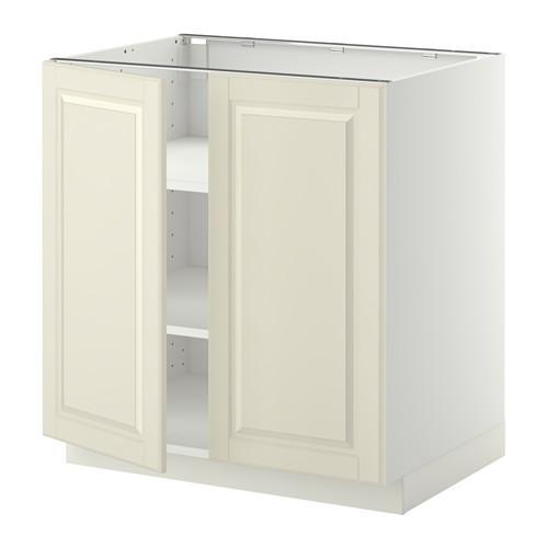 МЕТОД Напол шкаф с полками/2двери - 80x60 см, Будбин белый с оттенком, белый