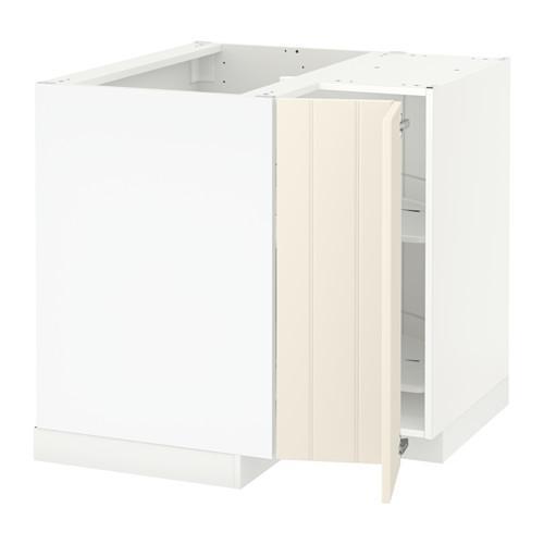 МЕТОД Угл напольн шкаф с вращающ секц - Хитарп белый с оттенком, белый
