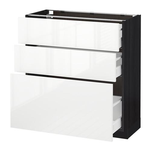 МЕТОД / МАКСИМЕРА Напольный шкаф с 3 ящиками - 80x37 см, Рингульт глянцевый белый, под дерево черный