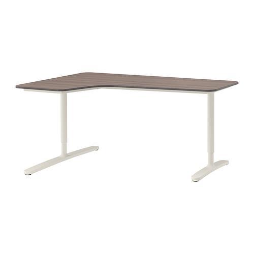 БЕКАНТ Углов письм стол левый - серый/белый