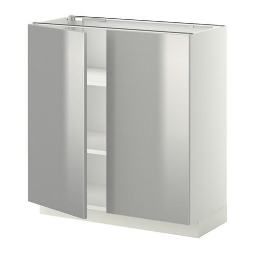 МЕТОД Напол шкаф с полками/2двери - 80x37 см, Гревста нержавеющ сталь, белый