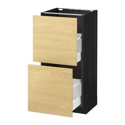МЕТОД / МАКСИМЕРА Напольный шкаф с 2 ящиками - 40x37 см, Тингсрид под березу, под дерево черный