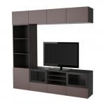 БЕСТО Шкаф для ТВ, комбин/стеклян дверцы - черно-коричневый/Вальвикен темно-коричневый, прозрачное стекло, направляющие ящика, плавно закр