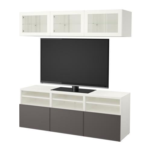 BESSTO Cabinet for TV, combin / glass doors - white Grundsviken / dark gray transparent glass, drawer guides, smoothly closed