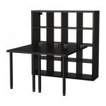 GUSTAV skrivbord med hylla svartbrun (00070125
