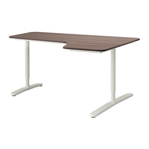 БЕКАНТ Углов письм стол правый - серый/белый
