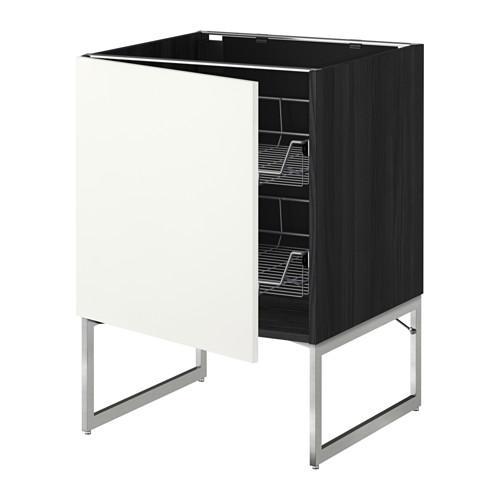 МЕТОД Напольный шкаф с проволочн ящиками - 60x60x60 см, Хэггеби белый, под дерево черный