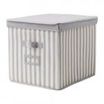 СВИРА Коробка с крышкой - серый/белый полоска, 33x39x33 см