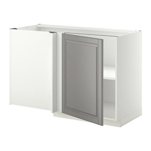МЕТОД Угловой напольный шкаф с полкой - Будбин серый, белый