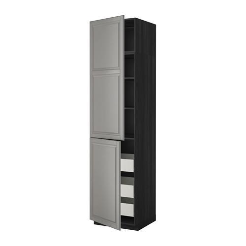 МЕТОД / МАКСИМЕРА Высокий шкаф+полки/3 ящика/2 дверцы - 60x60x240 см, Будбин серый, под дерево черный