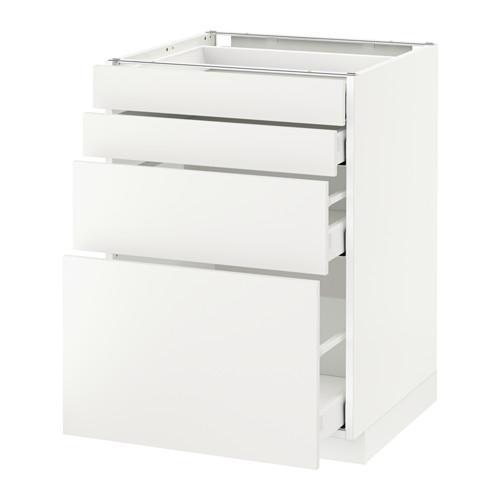МЕТОД / МАКСИМЕРА Напольн шкаф 4 фронт панели/4 ящика - 60x60 см, Хэггеби белый, белый