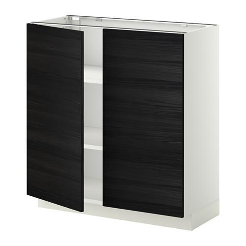 МЕТОД Напол шкаф с полками/2двери - 80x37 см, Тингсрид под дерево черный, белый