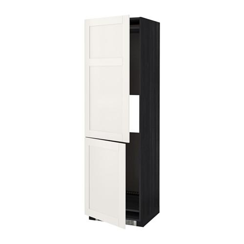 МЕТОД Выс шкаф д/холодильн или морозильн - 60x60x200 см, Сэведаль белый, под дерево черный