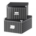 КАССЕТ Коробка для бумаг с крышкой - черный/белый