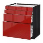 МЕТОД / МАКСИМЕРА Напольн шкаф 4 фронт панели/4 ящика - 80x60 см, Рингульт глянцевый красный, под дерево черный