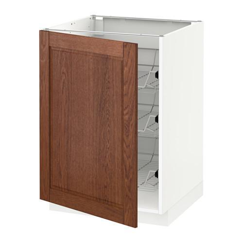 МЕТОД Напольный шкаф с проволочн ящиками - 60x60 см, Филипстад коричневый, белый