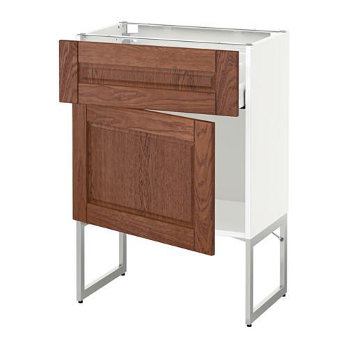 МЕТОД / МАКСИМЕРА Напольный шкаф с ящиком/дверью - 60x37x60 см, Филипстад коричневый, белый