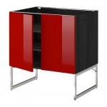 МЕТОД Напол шкаф с полками/2двери - 80x60x60 см, Рингульт глянцевый красный, под дерево черный