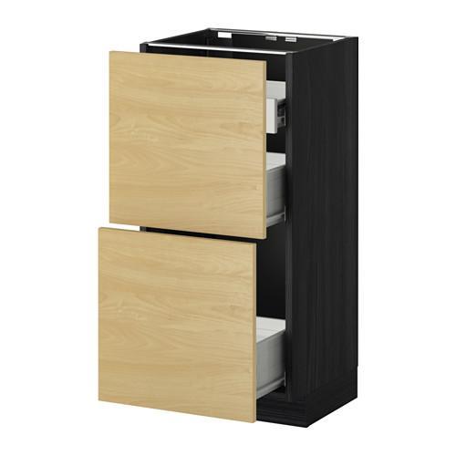 VERFAHREN / FORVARA Nap Schrank 2 FRNT PNL / 1nizk / 2sr Schubladen - Holz schwarz, Tingsrid Birke, 40x37 cm