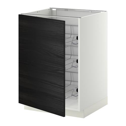 МЕТОД Напольный шкаф с проволочн ящиками - 60x60 см, Тингсрид под дерево черный, белый