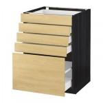 МЕТОД / МАКСИМЕРА Напольный шкаф с 5 ящиками - 60x60 см, Тингсрид под березу, под дерево черный
