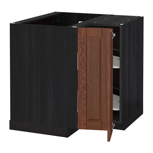МЕТОД Угл напольн шкаф с вращающ секц - Филипстад коричневый, под дерево черный