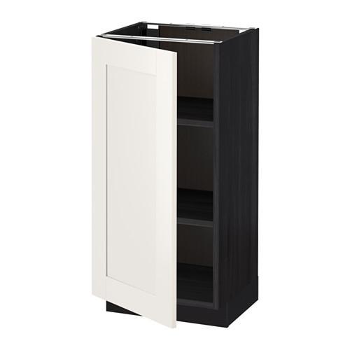МЕТОД Напольный шкаф с полками - 40x37 см, Сэведаль белый, под дерево черный