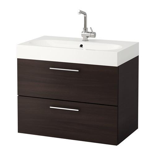 ГОДМОРГОН / БРОВИКЕН Шкаф для раковины с 2 ящ - черно-коричневый