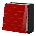 МЕТОД / МАКСИМЕРА Наполн шкаф 8 фронт/8 низк ящиков - 80x37 см, Рингульт глянцевый красный, под дерево черный