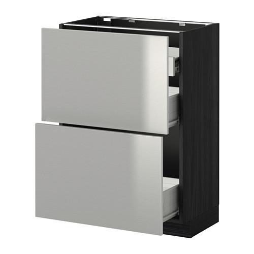 VERFAHREN / FORVARA Nap Schrank 2 FRNT PNL / 1nizk / 2sr Schubladen - Holz schwarz, Grevsta Edelstahl, 60x37 cm