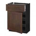 МЕТОД / МАКСИМЕРА Напольный шкаф с ящиком/дверью - 60x37 см, Эдсерум под дерево коричневый, под дерево черный