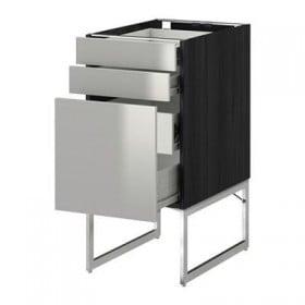 METOD / FORVARA Skåp 3front PNL / 2niz / 2sr lådor - 40x60x60 cm Grevsta rostfritt stål, trä svart