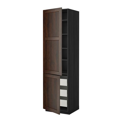 МЕТОД / МАКСИМЕРА Высокий шкаф+полки/3 ящика/2 дверцы - под дерево черный, Эдсерум под дерево коричневый, 60x60x220 см
