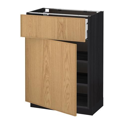 МЕТОД / МАКСИМЕРА Напольный шкаф с ящиком/дверью - 60x37 см, Экестад дуб, под дерево черный