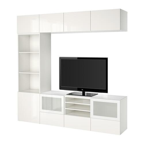 Besta Meuble Tv Combine Porte En Verre Blanc Selsviken Brillant Verre Depoli Blanc Boite Rails Poussee