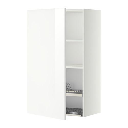 МЕТОД Шкаф навесной с сушкой - 60x100 см, Рингульт глянцевый белый, белый